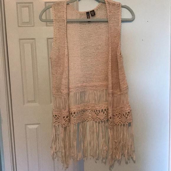 Full Tilt Jackets & Blazers - Crochet Fringe Vest from Full Tilt